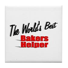 """The World's Best Bakers Helper"" Tile Coaster"