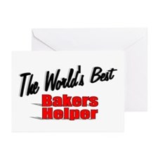 """""""The World's Best Bakers Helper"""" Greeting Cards (P"""