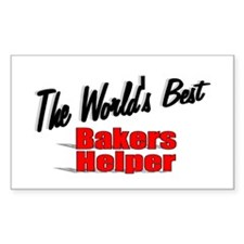 """The World's Best Bakers Helper"" Sticker (Rectangu"