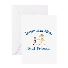 Logan & Mom - Best Friends Greeting Card