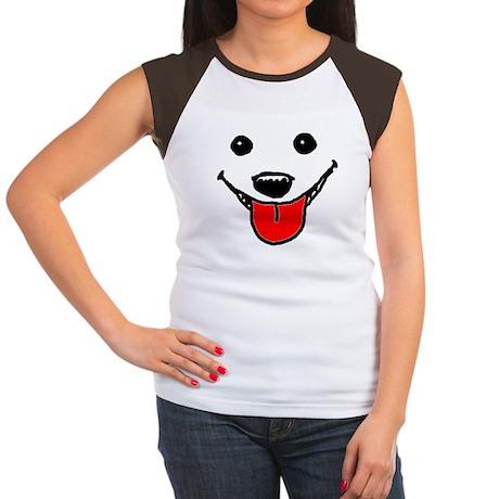 Happy Dog Face Women's Cap Sleeve T-Shirt