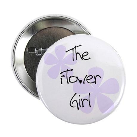 Flower Girl Lilac Flowers Wedding Button