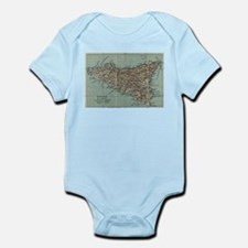 Vintage Map of Sicily Italy (1911) Body Suit