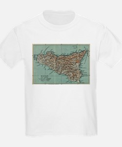 Vintage Map of Sicily Italy (1911) T-Shirt