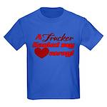 Trucker Hauled My Heart Away Kids Dark T-Shirt