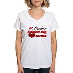 Trucker Hauled My Heart Awa Women's V-Neck T-Shirt