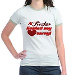 Trucker Hauled My Heart Away Jr. Ringer T-Shirt