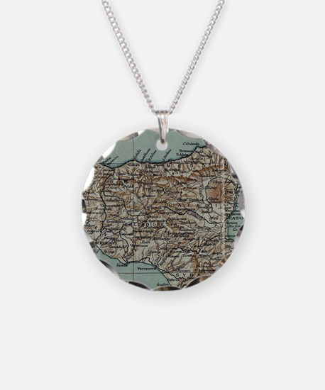 Vintage Map of Sicily Italy Necklace