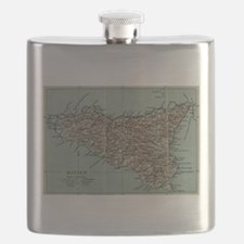 Vintage Map of Sicily Italy (1911) Flask