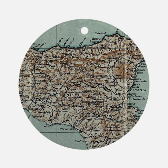 Vintage Map of Sicily Italy (1911) Round Ornament