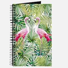 Aloha Flamingo Bird on Palm Leaves Pattern Journal