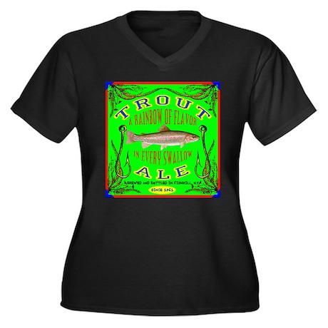 Trout Ale Women's Plus Size V-Neck Dark T-Shirt