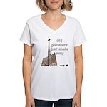 Old gardeners spade away Women's V-Neck T-Shirt
