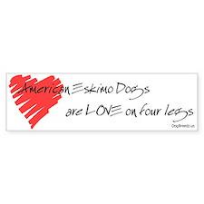 American Eskimo Dog Love on 4 Legs Bumper Sticker