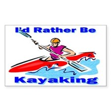 I'd Rather Be Kayaking Rectangle Decal