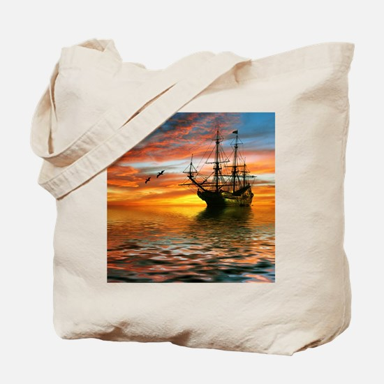 Pirate Ship Tote Bag