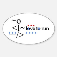 Love to run Oval Decal