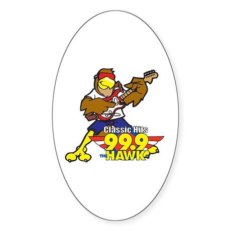 Hawk w/ Guitar Oval Sticker