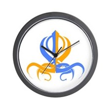 Khanda Orange and Blue Wall Clock