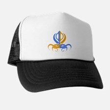 Khanda Orange and Blue Trucker Hat