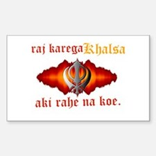 Raj Karega Khalsa Power Rectangle Decal
