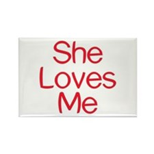 She Loves Me Rectangle Magnet (100 pack)