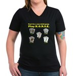 H.O.R.S.E. Rules Poker! Women's V-Neck Dark T-Shir
