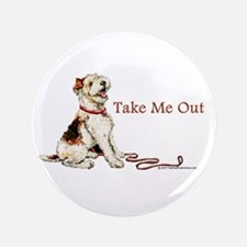 "Wire Fox Terrier Dog Walk 3.5"" Button"