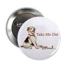 "Wire Fox Terrier Dog Walk 2.25"" Button"