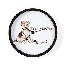 Wire Fox Terrier Dog Walk Wall Clock
