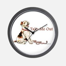 Wire Fox Terrier Dog Walk Wall Clock