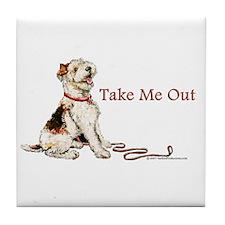Wire Fox Terrier Dog Walk Tile Coaster