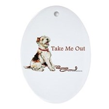 Wire Fox Terrier Dog Walk Oval Ornament