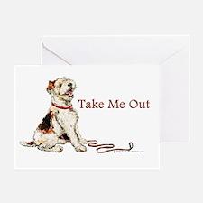 Wire Fox Terrier Dog Walk Greeting Card