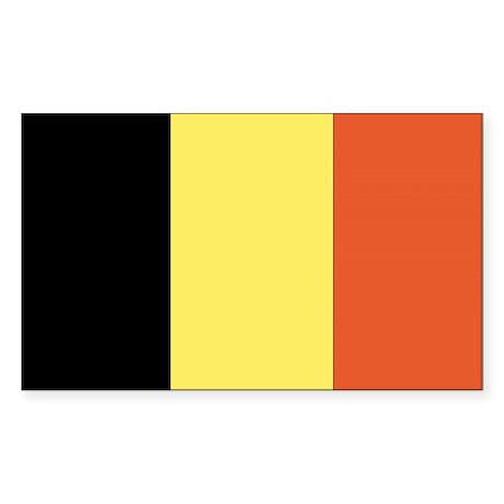 Belgium Country Flag Rectangle Sticker