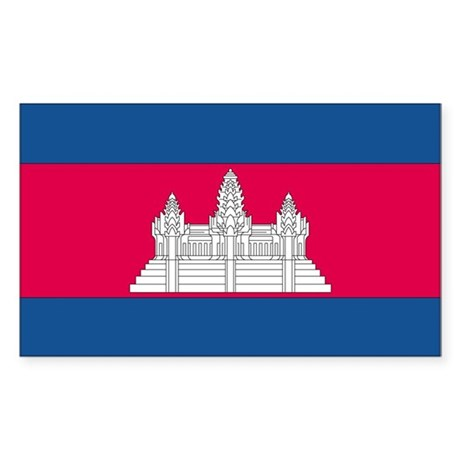 Cambodia Country Flag Rectangle Sticker