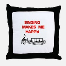 HAPPY SINGER Throw Pillow