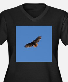 Red-Tailed Hawk Women's Plus Size V-Neck Dark T-Sh