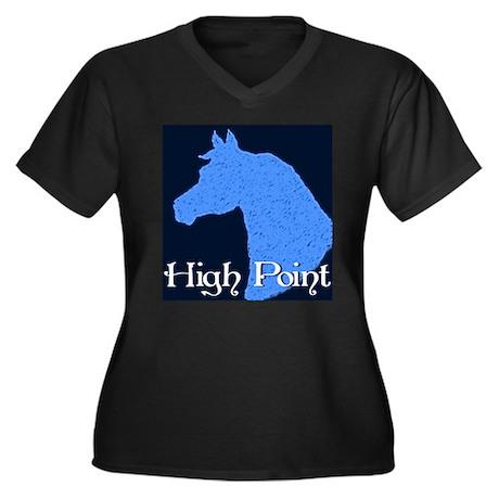 HP Horse Head Women's Plus Size V-Neck Dark T-Shir