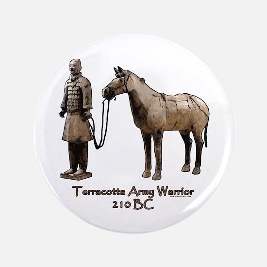 "Terracotta Army Warrior Horse 3.5"" Button"