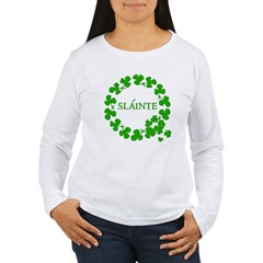Shamrock Circle SLAINTE Women's Long Sleeve T-Shir