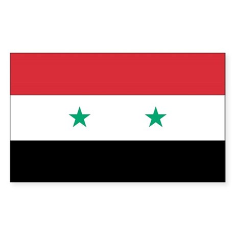 Syria Country Flag Rectangle Sticker