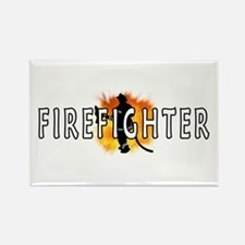 Firefighter Flames Rectangle Magnet