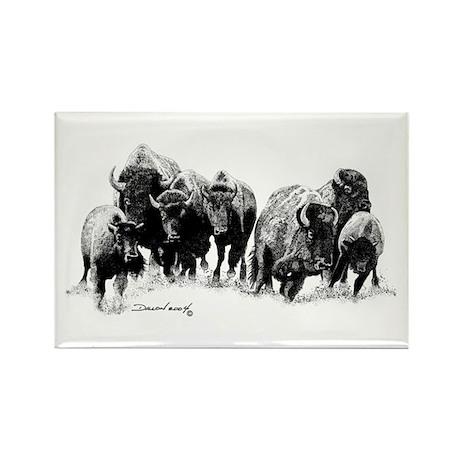 Buffalo Herd Rectangle Magnet (10 pack)