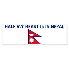 HALF MY HEART IS IN NEPAL Bumper Bumper Sticker