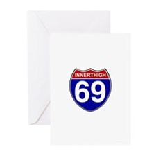 INNERTHIGH 69 ROAD SIGN Greeting Cards (Package of