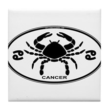 Cancer Sign B&W Tile Coaster