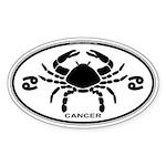Cancer Sign B&W Oval Sticker