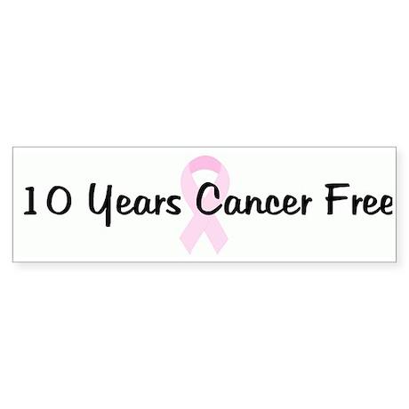 10 Years Cancer Free pink rib Bumper Sticker