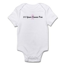 10 Years Cancer Free pink rib Infant Bodysuit